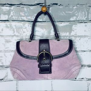 Coach Lavender Suede Buckle Closure Satchel